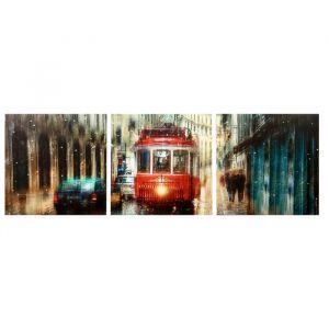 "Модульная картина ""Дождливый трамвай"" (3-35х35) 35х105 см 4983639"