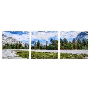 "Модульная картина ""Дыхание весны"" (3-35х35) 35х105 см 4983596"
