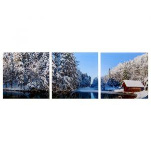 "Модульная картина ""Избушка в зимнем лесу"" (3-35х35) 35х105 см 4983592"