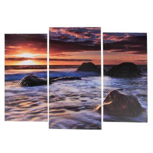 """Модульная картина """"Камни в море""""  (2-25х52; 1-30х60) 60х80 см   3981641"""