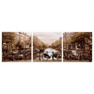 """Модульная картина """"Канал Амстердама"""" (3-35х35) 35х105 см 4983606"""