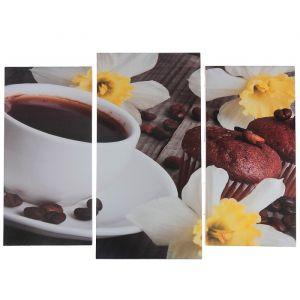 """Модульная картина """"Кофе с кексами""""  (2-25х52; 1-30х60) 60х80 см   3981593"""