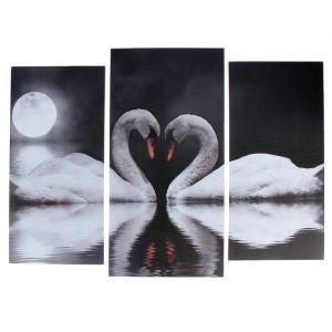 "Модульная картина ""Лебеди под луной""  (2-25х52; 1-30х60) 60х80 см   3981646"