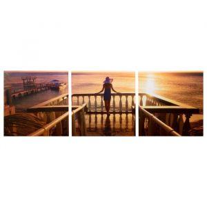 """Модульная картина """"Морской закат"""" (3-35х35) 35х105 см 4983633"""