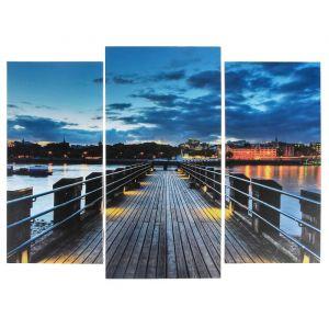 "Модульная картина ""Мост с подсветкой""  (2-25х52; 1-30х60) 60х80 см   3981640"