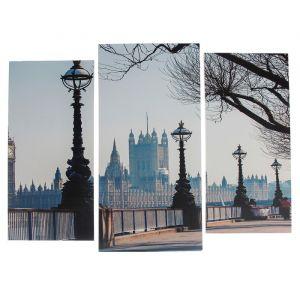 """Модульная картина """"Набережная Лондона""""  (2-25х52; 1-30х60) 60х80 см   3981619"""