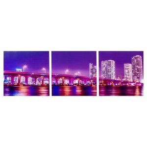 "Модульная картина ""Ночной мост мегаполиса"" (3-35х35) 35х105 см 4983588"