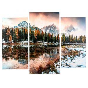 """Модульная картина """"Озеро в горах"""" (2-25х50, 30х60 см)  60х80 см   4675807"""