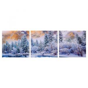 """Модульная картина """"Река зимнего леса"""" (3-35х35) 35х105 см 4983597"""
