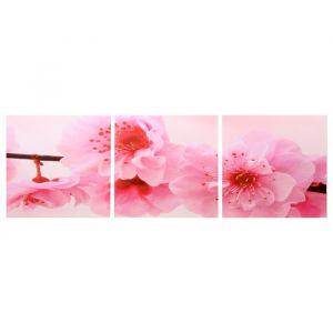 """Модульная картина """"Цветение вишни"""" (3-35х35) 35х105 см 4983608"""