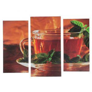 "Модульная картина ""Чай с мятой""  (2-25х52; 1-30х60) 60х80 см   3981594"