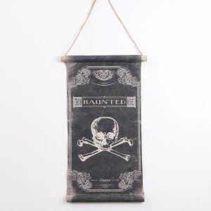 Панно подвесное с черепом Haunted, чёрно-белое, прямоугольное, 36х62 см 2723566