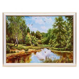 """Картина """"Белые лебеди в лесном пруду"""" 25х35 см (28х38 см) 4832454"""