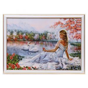 """Картина """"Девушка у озера"""" 25х35 см(28х38см)   4832478"""