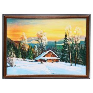 "Картина ""Домик в зимнем лесу"" 25х35 см (28х38см)  4832467"
