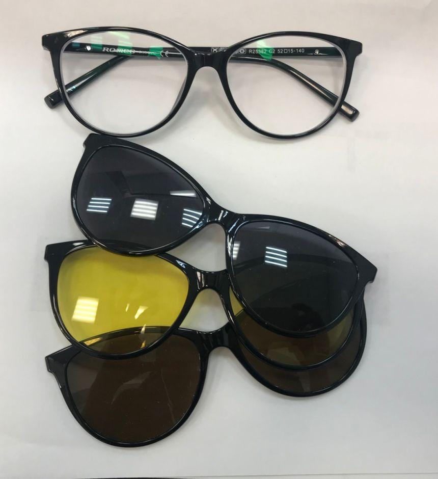 Очки с магнитными накладками Romeo Popular R25382 (диоптрии -1.75 и -2.00)