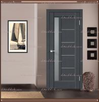 Межкомнатная дверь PREMIER 3 SoftTouch структурный Ясень графит, стекло - Мателюкс :