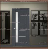 Межкомнатная дверь PREMIER 3 SoftTouch структурный Ясень графит, стекло - ЛАКОБЕЛЬ Белое :