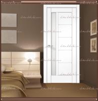 Межкомнатная дверь PREMIER 3 SoftTouch структурный Ясень белый, стекло - ЛАКОБЕЛЬ Белое :