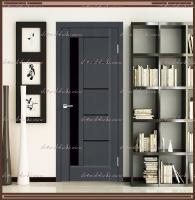 Межкомнатная дверь PREMIER 3 SoftTouch структурный Ясень графит, стекло - ЛАКОБЕЛЬ Чёрное :