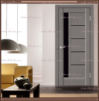 Межкомнатная дверь PREMIER 3 SoftTouch структурный Ясень грей, стекло - ЛАКОБЕЛЬ Чёрное :