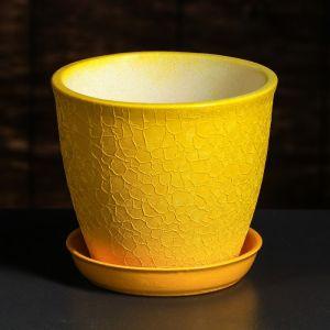 """Горшок для цветов """"Глория"""" шёлк, жёлтое, 0,5 л"""
