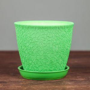 """Горшок для цветов """"Глория"""" шёлк, зелёное 0,5 л"""