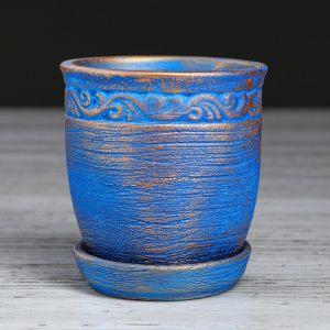 """Кашпо керамическое """"Антик"""", синее, 0,3 л 4910086"""