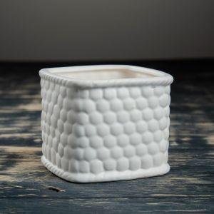 """Кашпо керамическое """"Корзина белая"""" квадратное10*8*10 см 3931932"""