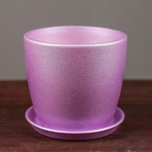 """Цветочный горшок """"Осень"""" 0,5 л перламутр фиолетовый лак   2991862"""