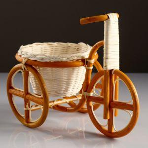 Кашпо «Велосипед», 29?15?19 см, кашпо 20?12 см, ротанг   4427913