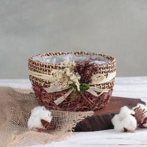 """Кашпо плетеное """"Букет"""" круг, 17х16х9 см, цвет коричневый"""