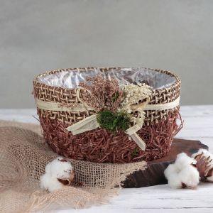 """Кашпо плетеное """"Букет"""" круг, 20х20х10 см, цвет коричневый   4585745"""