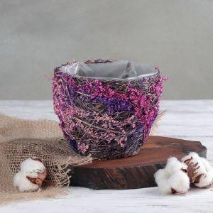 Кашпо плетёное круглое «Лаванда», 14?14?11,5 см