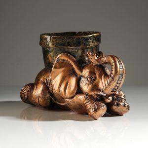 """Кашпо """"Слон с горшком'', бронзовый цвет, 0,5 л"""