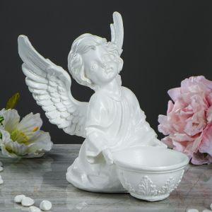"""Статуэтка """"Ангел с чашей внизу №2"""", белая , 22 см"""