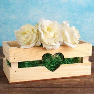 """Кашпо деревянное """"Двушка Лайт"""", двухреечное, сердце, натуральный 4474076"""