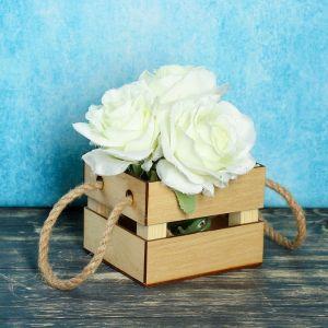"""Кашпо деревянное """"Однушка Лайт"""", двухреечное, ручка верёвка, натуральный 2219789"""