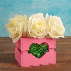 """Кашпо деревянное """"Однушка Лайт"""", двухреечное, сердце, розовый светлый 4474095"""