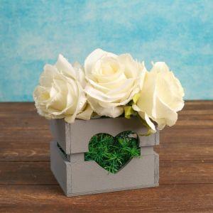 """Кашпо деревянное """"Однушка Лайт"""", двухреечное, сердце, серый 4474102"""