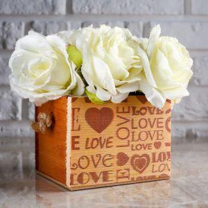 "Кашпо деревянное Элен ""Love Love Love"", ручка верёвка 4743917"