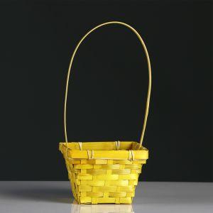 Корзина плетёная, бамбук, квадратная, жёлтая