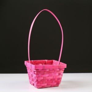 Корзина плетёная, бамбук, квадратная, розовая