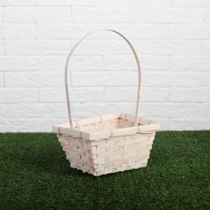 Корзина плетёная, бамбук, прямоугольная, белая