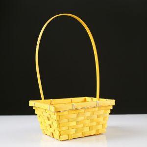 Корзина плетёная, бамбук, прямоугольная, жёлтая