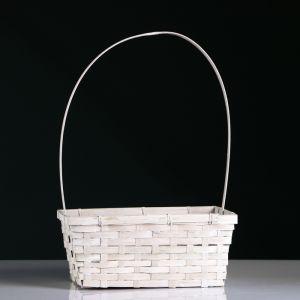 Корзина плетёная, бамбук, белая, прямоугольная