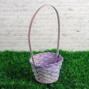 Корзина плетеная бамбук, D13xH9,5/28см светло-фиолетовая 3823261
