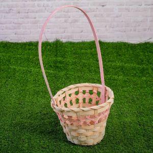 Корзина плетеная, бамбук, 14х14х11/30 см, розовая 3986319