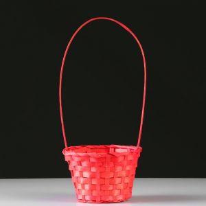 Корзина плетеная, бамбук, D13xH9.5/28 см, красный 4821943