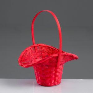 Корзина плетёная, бамбук, красная, (шляпка)
